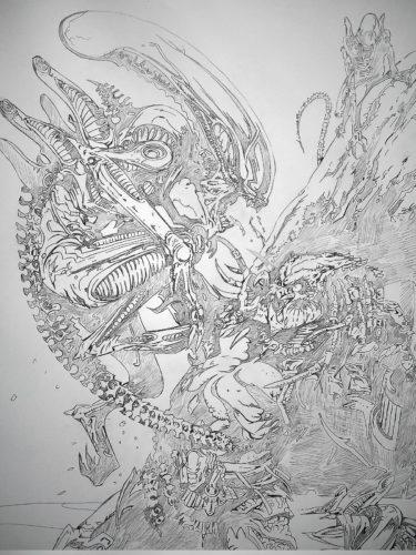 Aliens vs Predator - crayonné