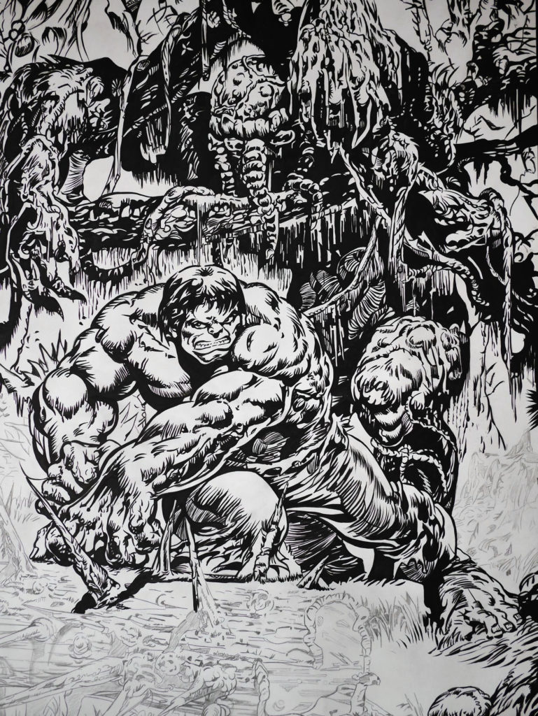 Hulk contre Man Thing - encrage