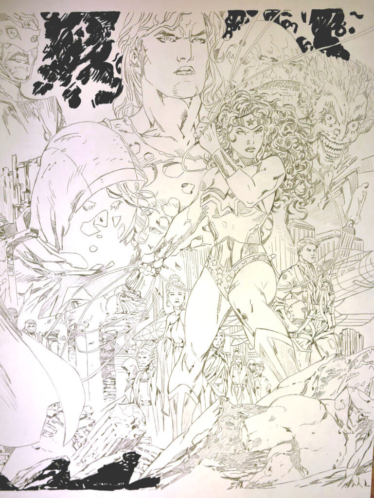 Triptyque Wonder Woman 750 par Jim Lee - crayonné
