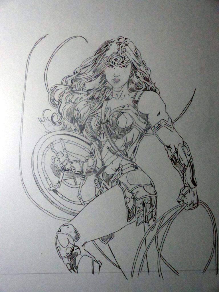 Commission Wonder Woman - noir et blanc